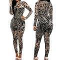Rompers Das Mulheres Novas Macacão Tatuagem Tribal Prin Malha De Manga Longa Sexy Bodysuit Celebridade Catsuit Playsuit Bodycon Macacão