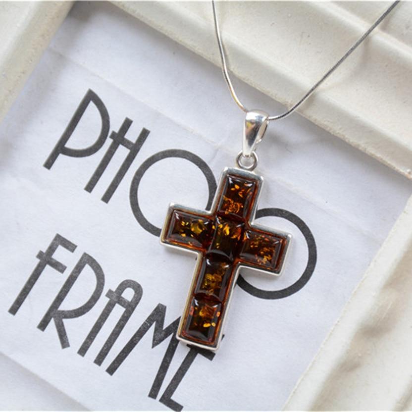 Mode femmes Vintage rétro chrétien forme de croix réel 925 en argent Sterling pendentif collier pour les femmes cadeau