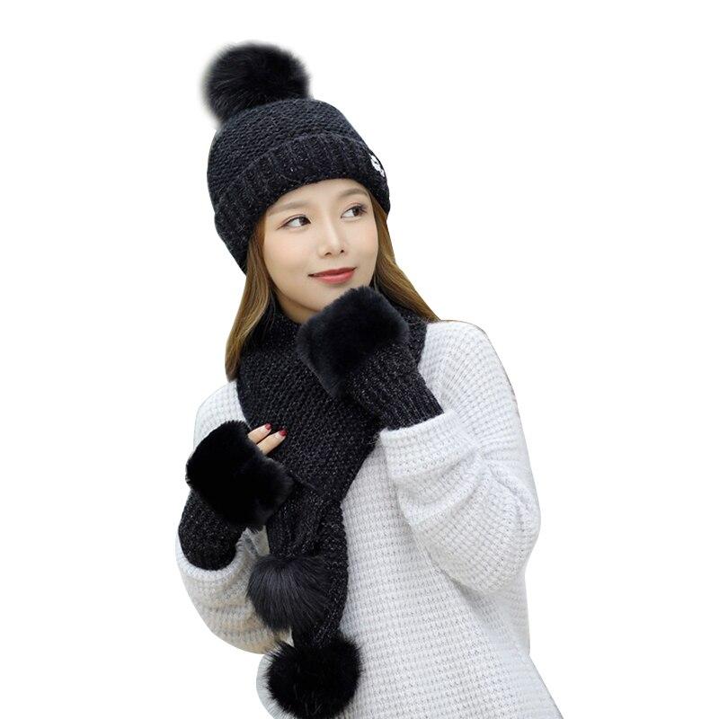 Hat Scarf Gloves 3 Piece/Set Women Winter Thicken Knitting Warm Snow Ski Cap Mitten Fashion Soft Pompoms Beanie Female Scarves