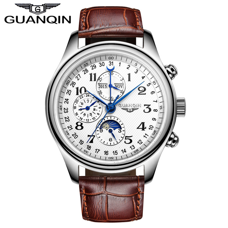 Men watches Original Brand GUANQIN Perpetual Calendar 4 Hands Auto Mechanical Movement Waterproof Wristwatch Men Sport Watches
