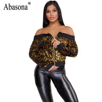 Abasona Bomber Jacket Women Coat Long Sleeve Spring Sparkle Off Shoulder Outwear Sexy Zippers Evening Party