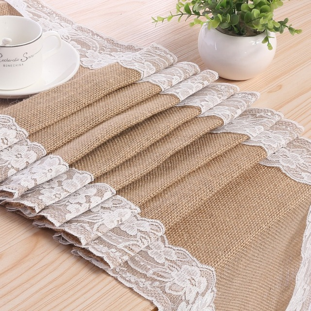 30cm 275cm Vintage Hessian Burlap Lace Table Runner For Party Home Natural Jute Country Style