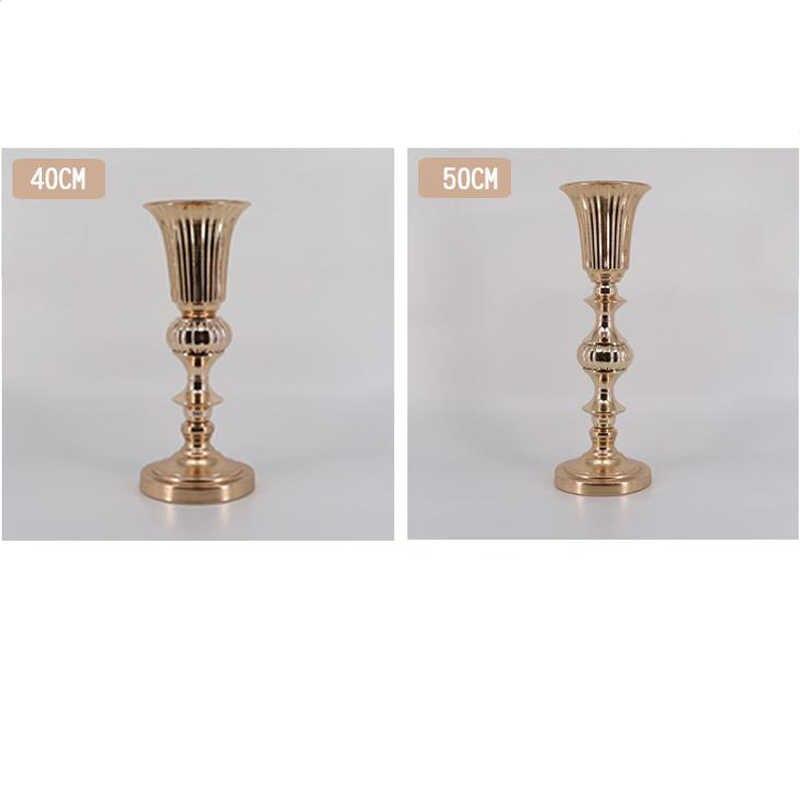 50cm/20'' Gold Tabletop Vase Metal Flower Vase Table Centerpiece For Mariage Metal Flowers Vases For Wedding Decoration 005