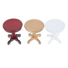 1PCS 1/12 Dollhouse Wooden Furniture Miniature Round Coffee Table Desk Miniatures Pretend Toys Garden/Room Decoration