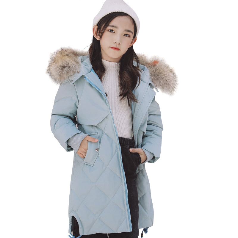 Kids Girls Winter Jacket with Fur Collar Children Girl Parka Clothes 2018 Long Warm Hooded Cotton Coats Big Size 8 10 12 14 Year winter long thicken cotton coats women fashion print parka 15 colors hooded warm big size clothing high quality jecket lf207 621