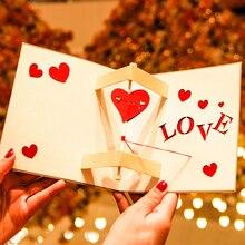 3D лазерная вырезка своими руками юбилейное шоу любовь сладкое сердце бумага поздравительные открытки Почтовая открытка День Святого Валентина Свадебный подарок девушки