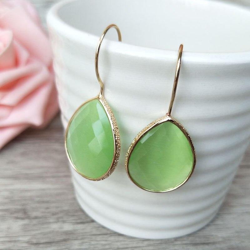 6 Pairs Water Drop Shape Glass Crystal Earrings Dangle Earrings Gem stone Jewelry Druzy ER249