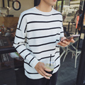 2016 New Arrival Spring Autumn Fashion Men Casual Long Sleeved O-neck Striped Pullover Loose Knitted Sweater Black/White/Gray