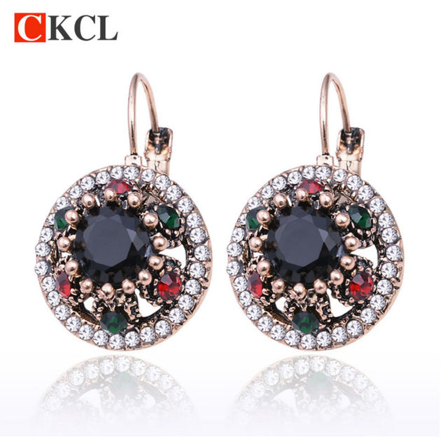 2017 Fashion Women Vintage Flower Drop Earrings Retro Crystal Hanging Earring Texture Round Enamel