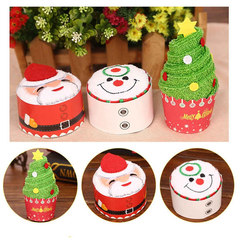new arrival christmas creative cake towel gift washcloth towel christmas cute towel present