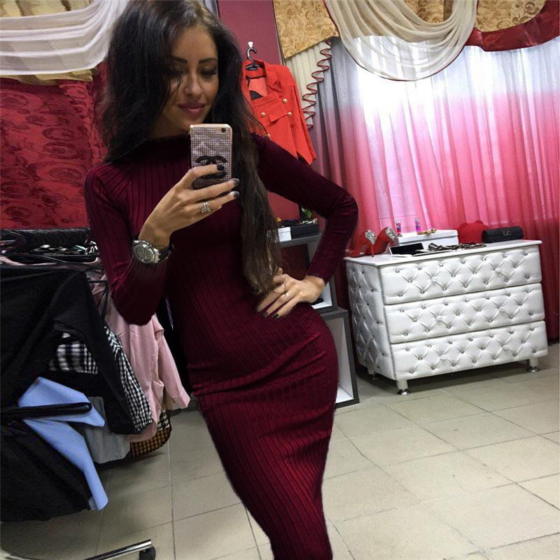 Women Fashion Bodycon Dress 2017 Autumn Knitted Sweater Midi Dresses Office Casual Sexy Bandage Vestidos Femme Clothing WS2462Y