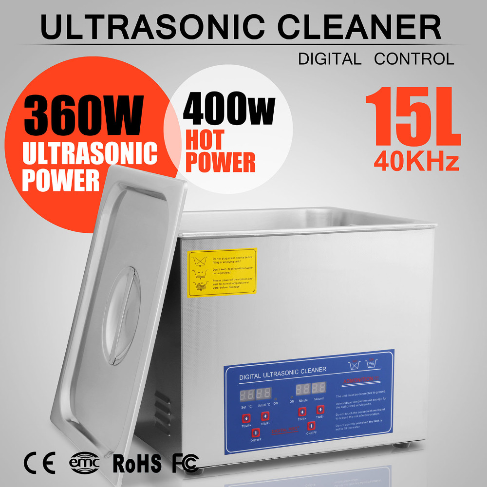 US Stock Stainless Steel Industry Heated Heater W/Timer 15L Ultrasonic Cleaner