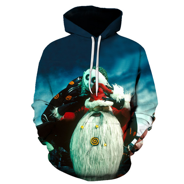 3d-hoodie Christmas and Halloween skull jack-themed pullovers are designed for men and women wearing casual plus-size jerseys