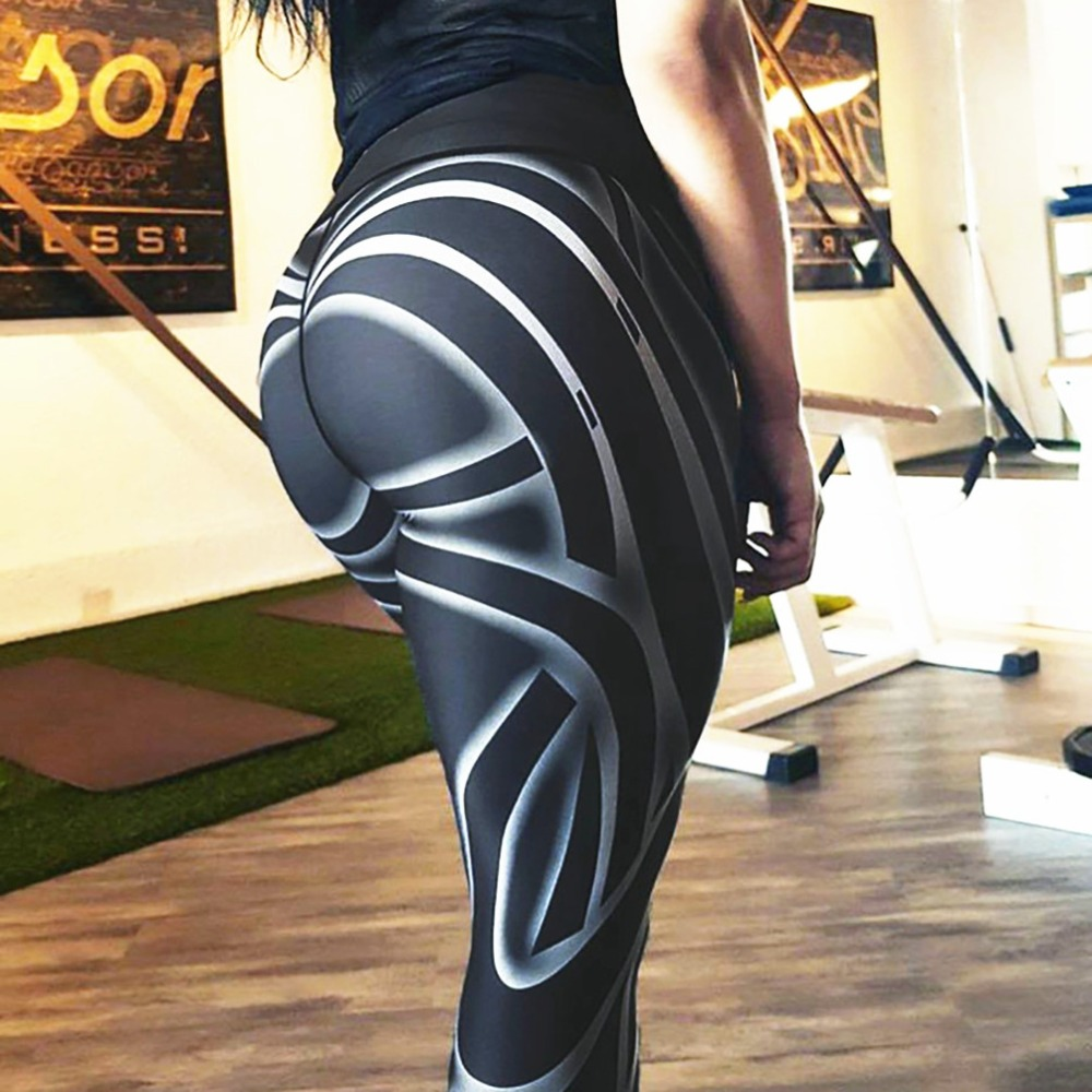 Ins Style 2018 Fashion Fitness Leggings Black Pants High Waist Sexy Workout Put Hip Elastic Skinny Breathable Slim Pants