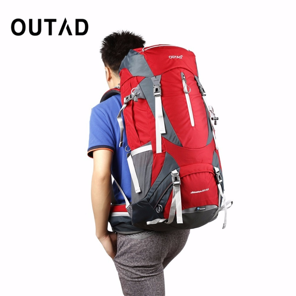 где купить OUTAD 60+5L Outdoor Water Resistant Nylon Sport Backpack Hiking Bag Camping Travel Pack Mountaineer Climbing Sightseeing Hike по лучшей цене