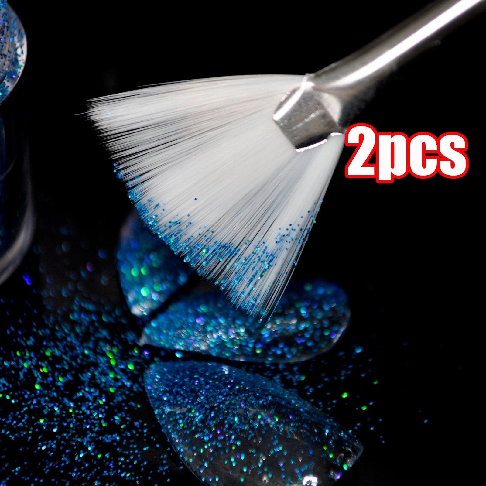 1 lot = 2 pcs Gra n UV Nail Glitter Powder Brush Fan Bentuk Nail Art Pen Desain Acrylic Painting Menggambar sikat B04