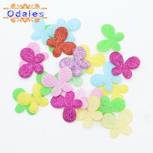 200Pcs Mixed Glitter Fabric Butterflies Patches Butterfly Appliques for Making Card Hair Accessory Party Decor Sewing Crafts
