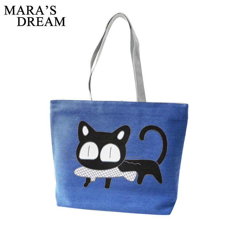 Mara's Dream Fashion Cute Cartoon Cat Bag Canvas Bags Women Shoulder Bag Casual Women's Handbags Messenger Bags Bolsas Feminina new woman shoulder bags cute canvas women big bags literature and art cartoon girls small fresh bags casual tote