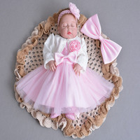 Baby Princess Newborn Lace Gauze Birthday Dress Child Chiffon Coat Hair Strap Evening Dresses Girls Princesse