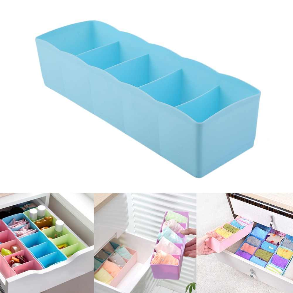 Five Grids Plastic Multifunction Underwear Socks Tiny Things Storage Box  Finishing Box Drawer Desk Bed Cabinet