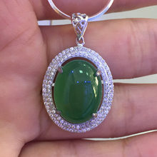 BSL Fine Jewelry 925 Sterling Silver Green Jade Pendant Necklace Para Mulheres Presente de Casamento 2017 New Arrival(China)
