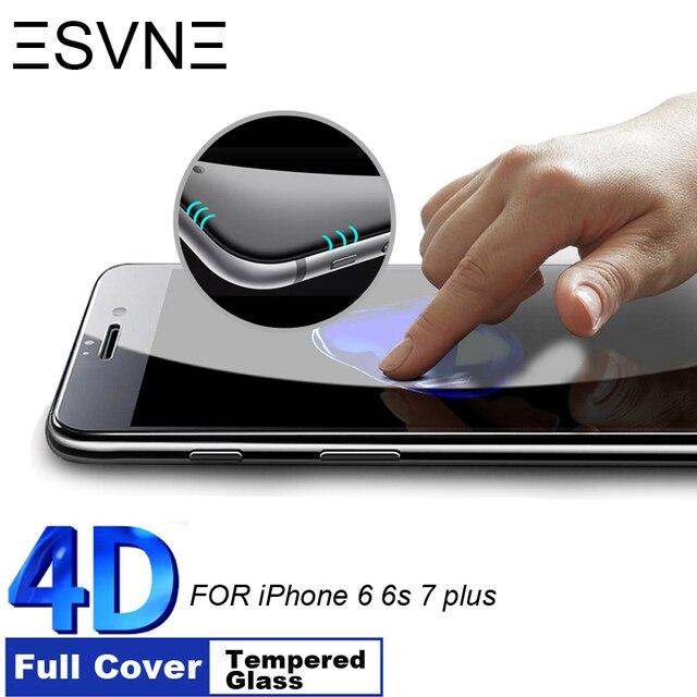 fdc836ddef1 ESVNE 4D 9H Dureza Borde Curvo de cristal templado Cubierta Completa para iphone  6 cristal de