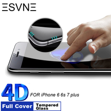 ESVNE 9H Hardness 4D Curved Edge Full Cover Tempered Glass for iphone 6 glass iPhone 7