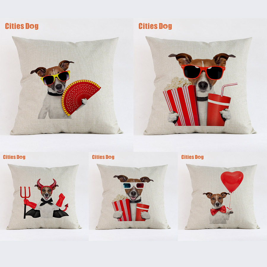 Jack Russell Terrier Dog Cushion Sofa Cover Decorative Pillows Animal 2018 New Year Easter Gift Pillowcases Almofada Cojines