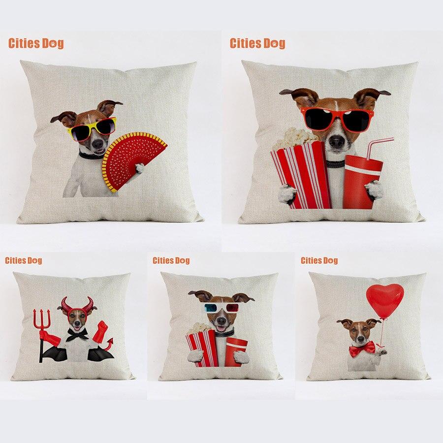 Jack Russell terrier cão almofada do sofá capa almofadas decorativas fronhas de almofada cojines Animal 2018 Ano novo presente de Páscoa