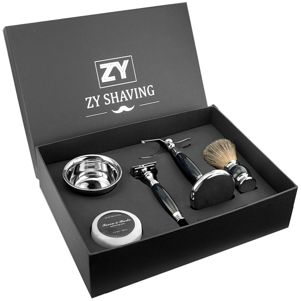 ZY Mens Shaving Gift Kit Double Edge Safety Shaving Razor Badger Hair Brush+Razor Stand Holder + Shave Beard Soap Bowl Set zy 5pcs man safety razor double edge shaving kit long handle natural badger shaving brush stand holder shave soap bowl gift