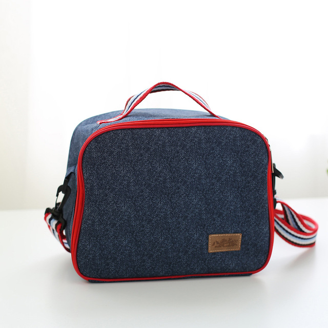 Denim Thermal Cooler Bag Children Lunch Bag Aislante Termico  Thermos Portable Ice Picnic Bag Shoulder Insulation Box Customized
