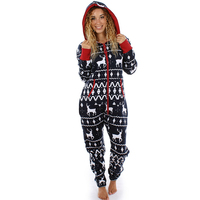 Christmas Pajamas Hoodies Jumpsuits Long Sleeve Bodycon Hooded Long Pants Rompers Overalls New Women Loose One