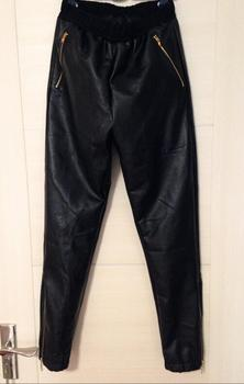 27-44!!2019 men's same mesh PU slimming leather pants with feet and zipper stitching hip hop leather pants with small feet.