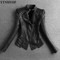 YTNMYOP 2019 New Slim Black Leather Jacket Women Faux Leather Plus Size S 3XL Mandarin Collar Motorcycle Leather Coat