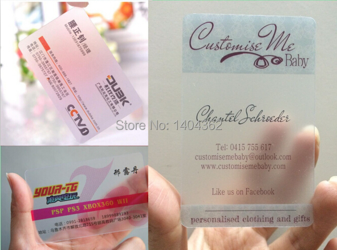 New Fashion Plastic Bussiness Card Custom Single Sided Printing Visit Card Printing Clear Transparent PVC Business Cards NO.2269