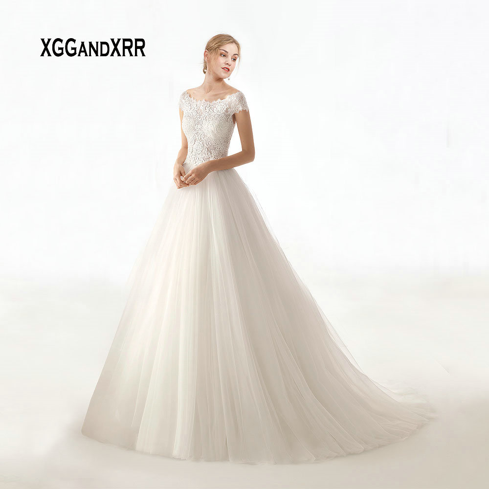In Fashion Amazing A Line Long Wedding Dresses 2019 Elegant Scoop Lace Appliques Cap Sleeves V