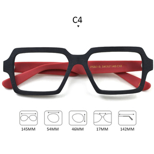 Image 4 - Gafas cuadradas de madera para hombre y mujer, lentes transparentes de marca de lentes, diseño hecho a mano, Estilo Vintage, acetato, S307