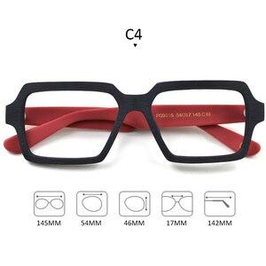 Image 4 - Square Wooden Glasses Men Woman Transparent Lens Brand Design Handmade Eyeglasses Male Vintage Style Acetate Top Quality S307