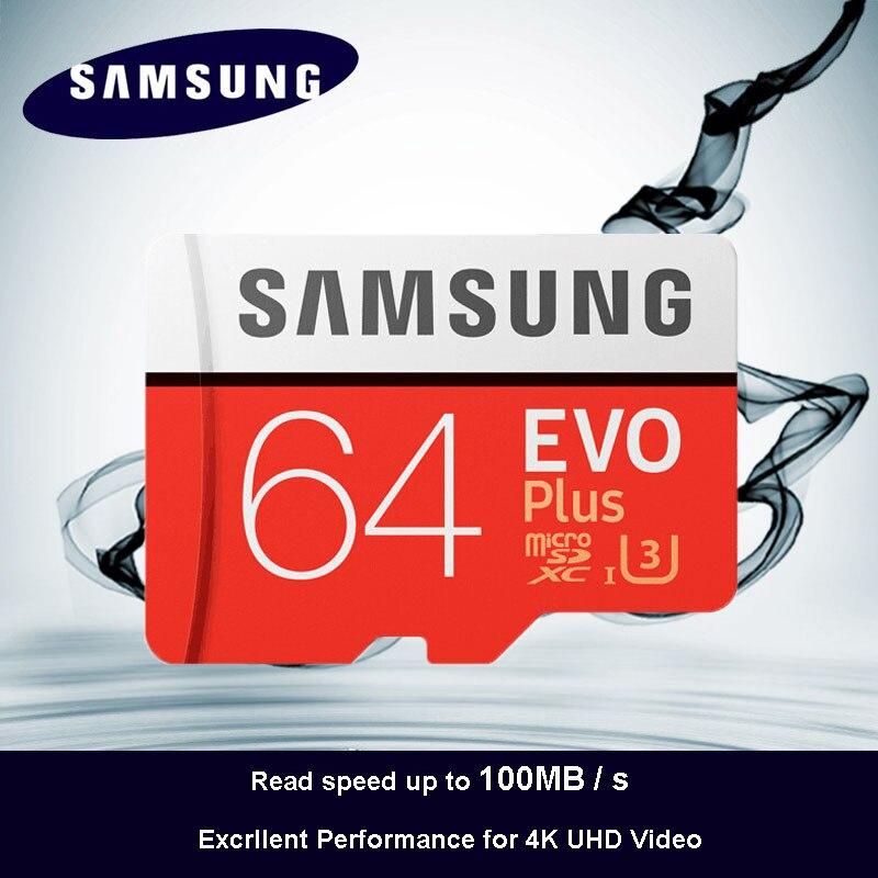 100% D'origine SAMSUNG Micro SD carte 64 gb u3 Carte Mémoire EVO Plus 64 gb Class10 TF Carte C10 80 mb/s MICROSDXC UHS-1 Livraison Gratuite