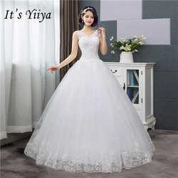 Это YiiYa Новый v-образным вырезом простое свадебное платье Off White блестками Дешевые Свадебные платья De Novia HS288
