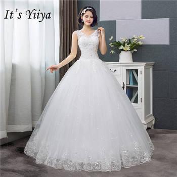 To Yiiya Nowy V Neck Suknie ślubne Proste Off Biały Cekinami Tanie