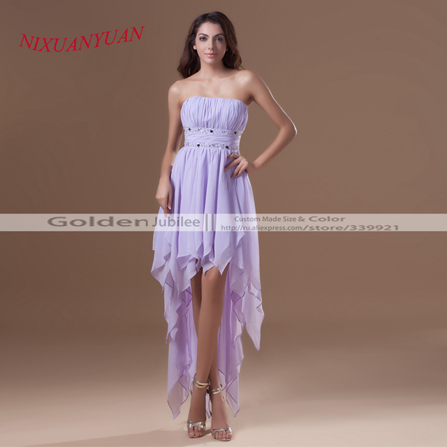 2016 Hot Sale Strapless Knee Length Gown Front Short Back Long A ...