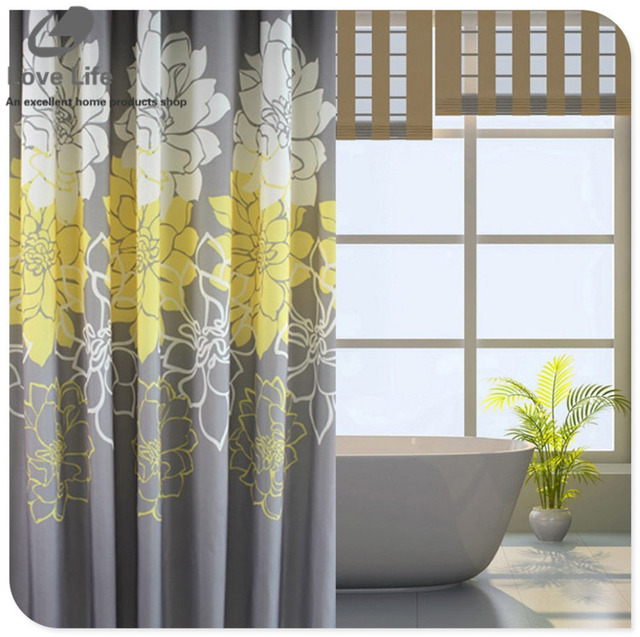 Peony Bathroom Polyester Shower Curtain Waterproof Mildew Thickened