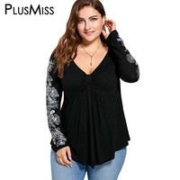 Plus Size 5XL Floral Print Long Sleeve Blouse Shirt Women Peplum Autumn 2017 Sexy V Neck