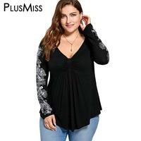 زائد الحجم 5xl الأزهار المطبوعة طويلة الأكمام بلوزة قميص المرأة peplum خريف 2017 مثير الخامس الرقبة تونك قمم blusas فضفاضة كبيرة الحجم