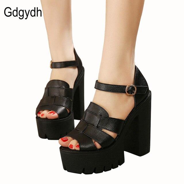 Gdgydh Мода 2017 новые летние клинья платформы сандалии женщин Черный и Белый открытым носком на высоком каблуке женские туфли Бесплатная доставка