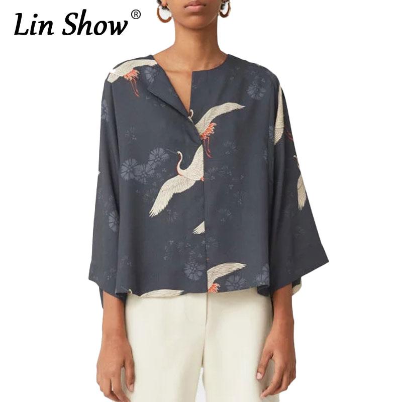 LINSHOW 2016 Autumn Animasl Print Women Blosues Birds Pattern Three Quarter V Neck Tops Elegant Loose Cotton Ladies Shirts