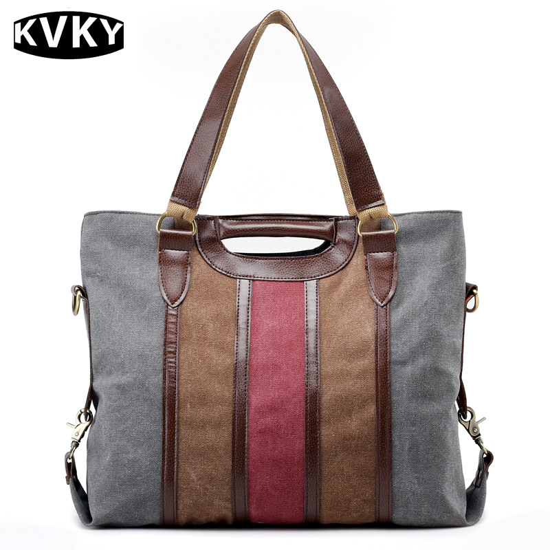 KVKY Vintage Canvas Women Handbags High Quality Ladies Shoulder Bag Patchwork Women Lady Bag Casual Tote
