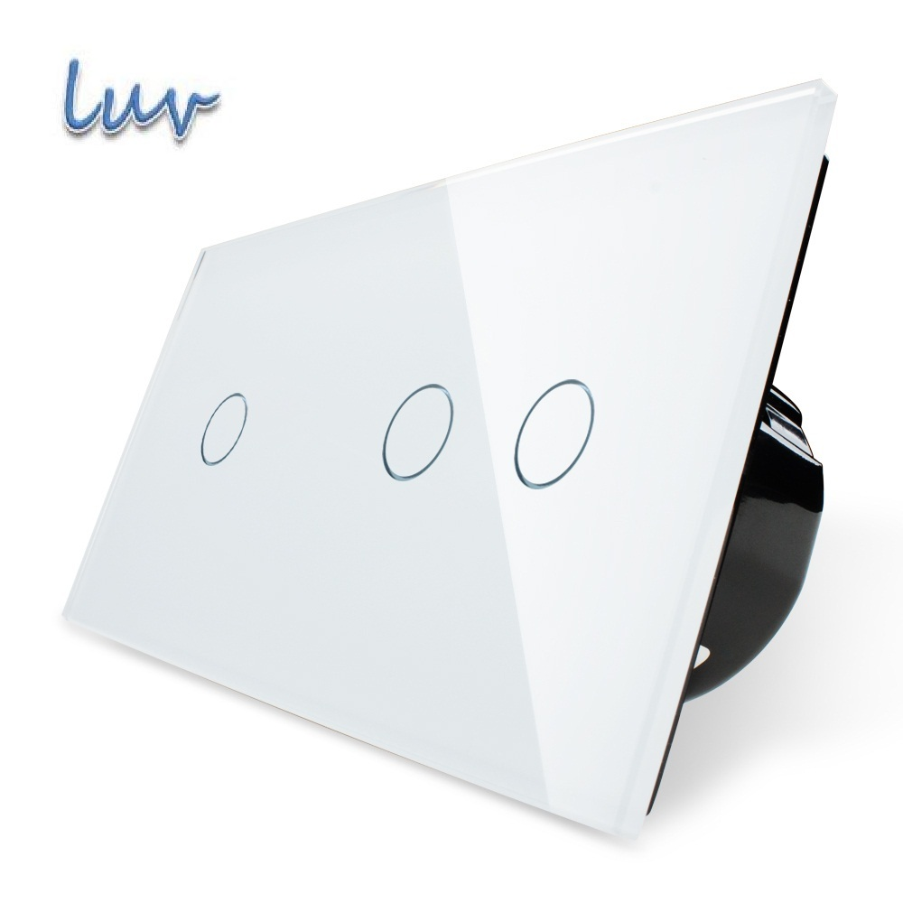 Manufacturer,EU Standard, Touch Switch, White Crystal Glass Panel,Wall Light Smart Switch, VL-C701+C702-11 uk standard 3gang1way sankou led touch switches white crystal glass panel light wall switch smart home ac220v 110v