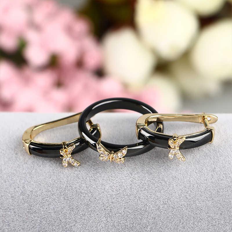 Gold Schmetterling Ringe und Ohrringe AAA Strass Gesunde Keramik Schmuck sets Frauen Mom Geschenk Schmuck Für Hochzeit Zubehör